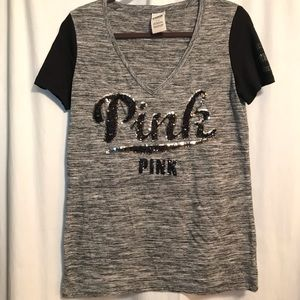 """Pink"" V neck t-shirt with sequins"